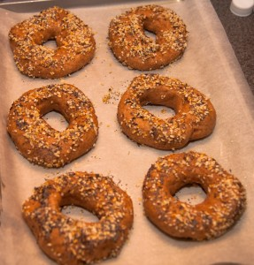 Bagles, out of the boil and seasoned up