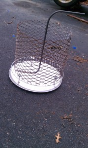 Here's the charcoal basket.  I scrapped the original handle idea and just put a bar across the top.